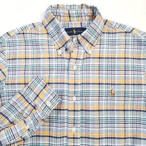 Polo Ralph Lauren Plaid Button Down Shirt Sz S EUC